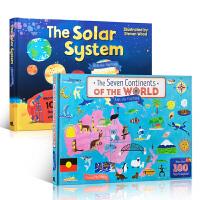 英文原版进口童书科普读物 2本套装 The Solar System太阳系绘本 The Seven Continents Of The World 世界地图地理 儿童启蒙认知百科读物 翻翻书