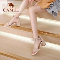 camel骆驼女鞋2019新款夏季绒面百搭蝴蝶结一字式扣带粗跟仙女风凉鞋女