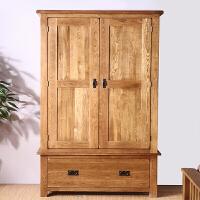 欧式全实木家具橡木储物衣橱简约现代储物柜田园卧室组合两门衣柜 2门