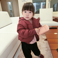 史豌豆定制儿童冬装新款插肩袖加厚棉袄宝宝棉衣女童洋气连帽外套
