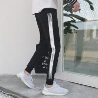 2018新款韩版潮流男士休闲裤个性百搭小脚运动裤黑色束脚修身长裤