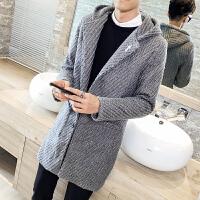 秋冬新男装单排扣连帽中长款风衣男 个性毛线风衣大衣