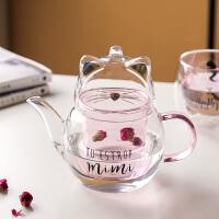 川岛屋猫咪茶壶泡茶玻璃耐高温加厚可爱小花茶壶家用过滤茶具套装