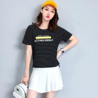 夏季时尚女夏短袖短裙配长裤运动套裙网球裙显瘦两件套 黑色条纹配白短裙 M