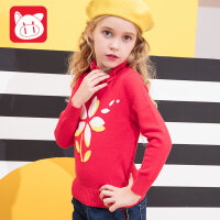 小猪班纳童装女童毛衣冬季2018新款高领儿童休闲线衣中大童针织衫