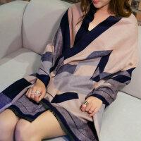 加厚围巾欧美双面围巾披肩两用女士空调仿羊绒围巾披肩