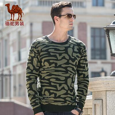 骆驼男装 秋冬新款潮流青年男士套头直筒圆领毛衣保暖打底衫