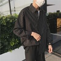 条纹宽松落肩薄款男士衬衫长袖韩版学生帅气青少年休闲衬衣外套潮