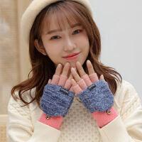 户外运动保暖毛线针织加厚半指翻盖学生触摸屏手套露指女加绒