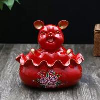创意招财猪门口鞋柜钥匙收纳盒欧式酒柜装饰品摆件玄关茶几小果盘