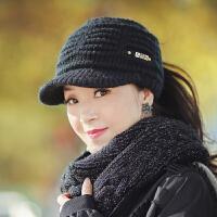 帽子女秋冬韩版时尚百搭潮冬天女士毛线帽中年冬季保暖空顶鸭舌帽