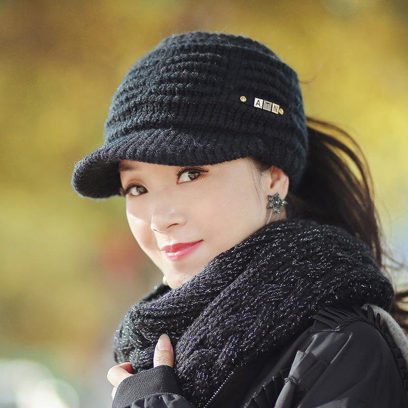 帽子女秋冬韩版时尚百搭潮冬天女士毛线帽中年冬季保暖空顶鸭舌帽 品质保证 售后无忧
