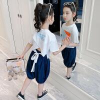 女童套装夏装女孩短袖牛仔裤夏季儿童休闲两件套