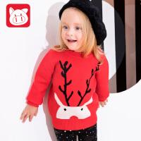 【2件3折到手价:76.5】小猪班纳童装宝宝毛衣女1-3岁冬季2018新款套头毛线衣儿童针织衫