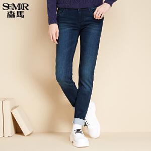 森马水洗牛仔裤 冬装 女士中低腰修身小脚牛仔长裤韩版潮