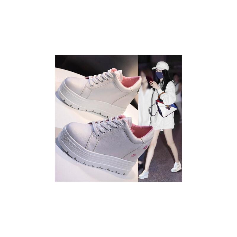 内增高小白鞋女户外休闲百搭厚底白鞋松糕鞋10cm单鞋