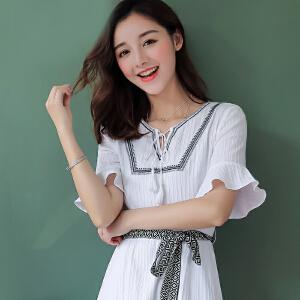 白色少女纯棉短袖连衣裙女装夏季2018新款气质时尚修身上衣