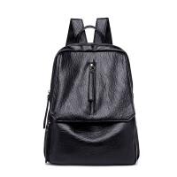 双肩包女韩版潮时尚休闲软皮女包妈咪背包简约学院风校园学生书包 黑色 软皮材质
