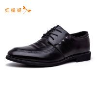 红蜻蜓男鞋潮流圆头系带舒适防滑商务休闲百搭正装低跟男皮鞋