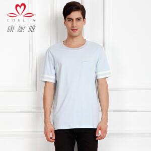 康妮雅夏季新款男装 欧美简约百搭棉质短袖圆领T恤