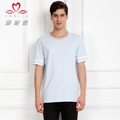 康妮雅夏季新款男装 欧美简约百搭棉质短袖圆领T恤先领卷后购物 满399减50