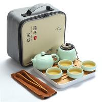 日式定窑旅行功夫茶具家用陶瓷茶杯茶壶茶盘小套装旅游车载便携包
