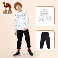 骆驼儿童套装2019新款男童棉绸秋装运动帅气洋气韩版两件套潮