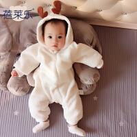 男婴儿连体衣外出抱衣服秋冬季冬装女宝宝保暖珊瑚绒加厚棉衣哈衣