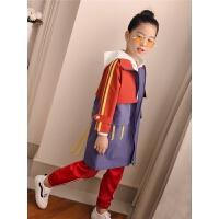 女童风衣外套秋装儿童中长款时髦大衣中大童洋气休闲潮衣