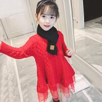 女童毛衣连衣裙加绒秋冬新款童装韩版洋气公主裙子冬装潮