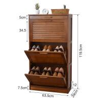 翻斗鞋柜门厅柜简易家用省空间组装多层门口玄关17cm实木鞋架 组装