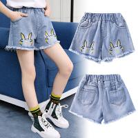女童牛仔裤夏季短裤高腰磨边薄款宽松韩版中大童外穿