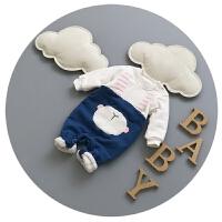 宝宝连体衣冬加厚新生儿衣服0-3个月婴儿保暖哈衣可爱秋冬抓绒潮9