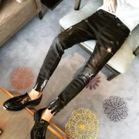 精神小伙发型师个性潮流韩版修身破洞毛边黑色男弹力小脚牛仔裤潮