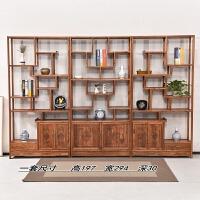 博古架实木中式仿古家具榆木多宝阁古董茶室茶叶展示柜书架隔断 1-1.2米
