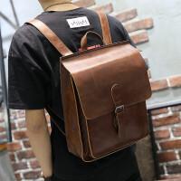 新款双肩包男韩版真皮电脑包潮流学生书包时尚个性简约背包旅行包 咖啡色