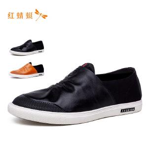 红蜻蜓真皮男鞋圆头套脚头层牛皮商务休闲男皮鞋