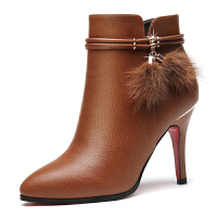 短靴女秋季女鞋2017新款冬季加绒靴子女士皮鞋尖头高跟鞋细跟冬鞋