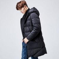 yaloo/雅鹿羽绒服男 中长款2017新款正品韩版冬季加厚保暖连帽青年潮 YS6107670