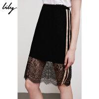 【此商品参加2件2折,预估到手109.8元】Lily春夏新款女装黑色蕾丝拼接高腰包臀裙半身裙118210C6507