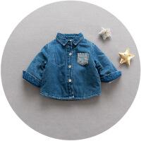 秋冬男宝宝格子衬衫厚款8男婴儿童装夹棉长袖衬衣6个月0-1一2-3岁