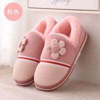 棉拖鞋女韩版可爱厚底居家居包跟男室内防滑保暖月子情侣拖鞋