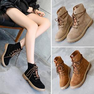 西瑞马丁靴子女短靴平底磨砂英伦风复古高帮靴学生反绒皮单靴BL668
