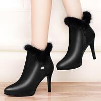 细跟短靴2017秋冬马丁靴女防水台新款靴英伦风尖头高跟女靴子短筒
