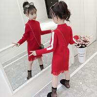 女童毛衣中长款针织衫中大童韩版套头秋冬装洋气连衣裙潮