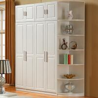 简易衣柜木质组装欧式简约现代经济型单人衣橱柜子卧室实木挂衣杆 6门 组装