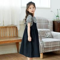 女童夏季裙子2018新款韩版洋气公主淑女中大童吊带连衣裙儿童长裙