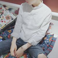 小清新小码男装修身小号长袖衬衫S号xs码白衬衣les帅t工装160寸衫