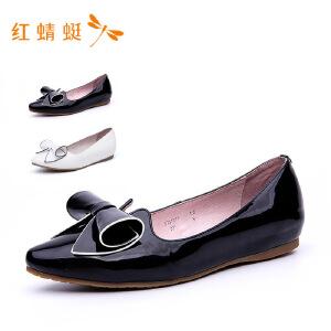 【专柜正品】红蜻蜓新款舒适尖头简约平底鞋女单鞋
