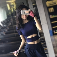 性感露马甲运动上衣女短袖速干健身房T恤跑步半袖弹力紧身瑜伽服